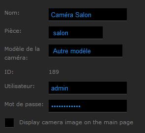 Configuration de la Caméra