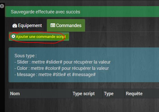 Commandes > Ajouter une commande script