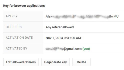 API key apparaît